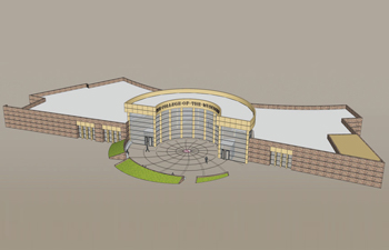 An architectural rendering of the competed College of the Muscogee Creek Nation campus  / RENDERING COURTESY BECK DESIGN AND COLLEGE OF THE MUSCOGEE NATION