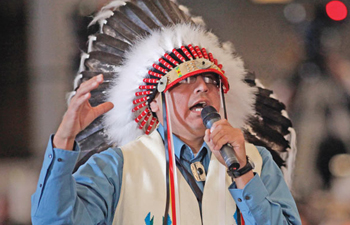 Marcus Levings, chairman of the Three Affiliated Tribes, gestures as he asked President Barack Obama a question during the White House Tribal Nations Conference, held at the Interior Department in Washington last week. AP PHOTO / PABLO MARTINEZ MONSIVAIS