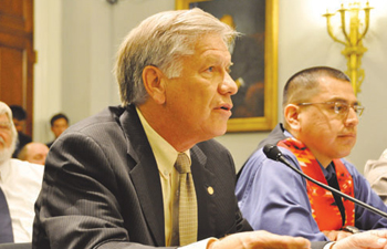 Gregory E. Pyle, Chief of the Choctaw Nation of Oklahoma, offers testimony in favor of passing HR 4347. Marcus D. Levings, right, chairman of the Three Affiliated Tribes in North Dakota, also testified. PHOTO COURTESY CHOCTAW NATION