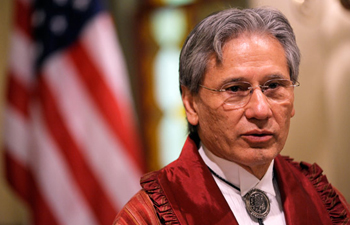 Cherokee Nation Chief Chad Smith speaks during a ceremony marking the Congressional Resolution of Apology to Native Peoples, Wednesday, May 19, 2010, in the Congressional Cemetery chapel in Washington. (AP Photo/Cliff Owen)