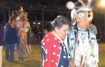 Nebraska Healthy Marriage Project participants dance the Two-Step as a bonding exercise during a powwow.  COURTESY PHOTO / INDIAN CENTER, INC., LINCOLN, NE