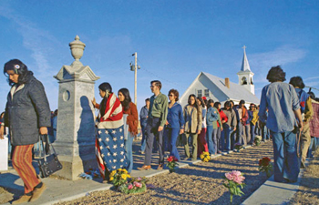 A general view of Wounded Knee, South Dakota on March 27, 1973, during negotiations between members of the American Indian Movement and Federal Agents. Associated Press Photo