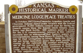 PHOTO COURTESY OF GOOGLE IMAGES Above a marker near Medicine Lodge, Kan., displays the history that led to peace treaties between the Kiowa, Comanche, Arapaho, Apache and Cheyenne tribes with the U.S. government. A pageant commenmorating the peace treaties is in jeopardy due to lack of money and volunteers.