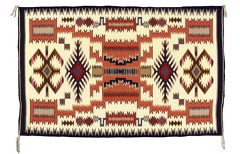 "Lillie Touchin (Navajo), Storm pattern textile, 1986, 53"" x 34"". This is one of the significant Navajo textiles given by Dr. Charles and Linda Rimmer to the Heard Museum."